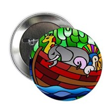 Noah's Ark Stained Glass Button