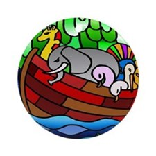 Noah's Ark Stained Glass Ornament (Round)