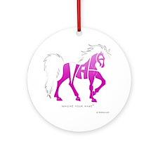 Nadia Pink Horse Ornament (Round)