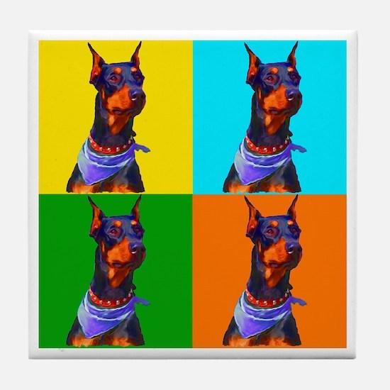 Daring Doberman Tile Coaster