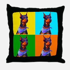 Daring Doberman Throw Pillow