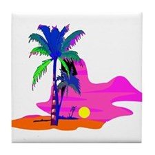 Palm Island Sunset Tile Coaster