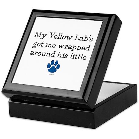Wrapped Around His Paw (Yellow Lab) Keepsake Box