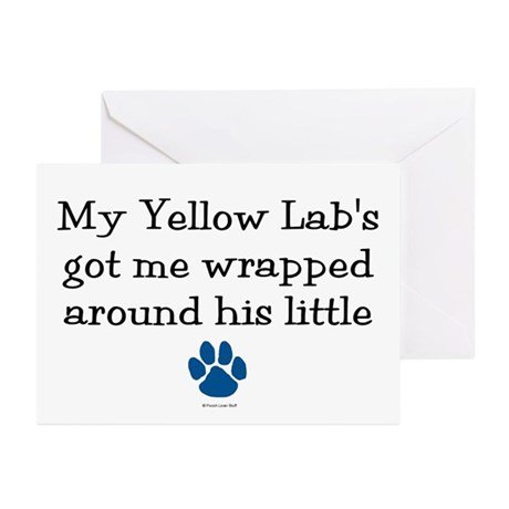Wrapped Around His Paw (Yellow Lab) Greeting Cards