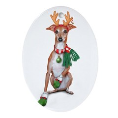 Italian Greyhound Reindeer Oval Ornament