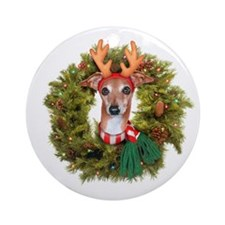 Italian Greyhound wreath Ornament (Round)