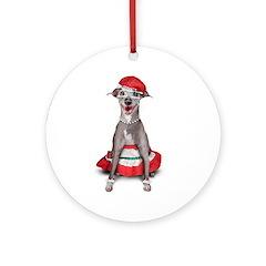 Italian Greyhound Mrs. Santa Ornament (Round)
