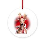 Italian Greyhound Reindeer Ornament (Round)