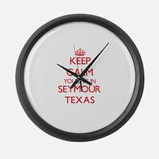 Keep calm you live in Seymour Tex Large Wall Clock