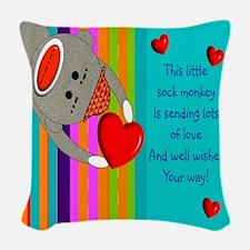 Sock Monkey Sick Child Woven Throw Pillow