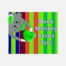 Sock Monkey Sick Child Throw Blanket