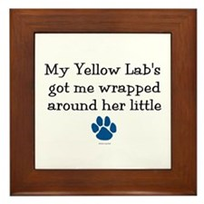 Wrapped Around Her Paw (Yellow Lab) Framed Tile