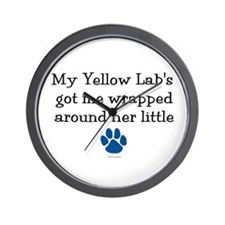 Wrapped Around Her Paw (Yellow Lab) Wall Clock