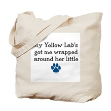 Wrapped Around Her Paw (Yellow Lab) Tote Bag
