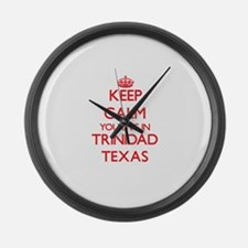 Keep calm you live in Trinidad Te Large Wall Clock