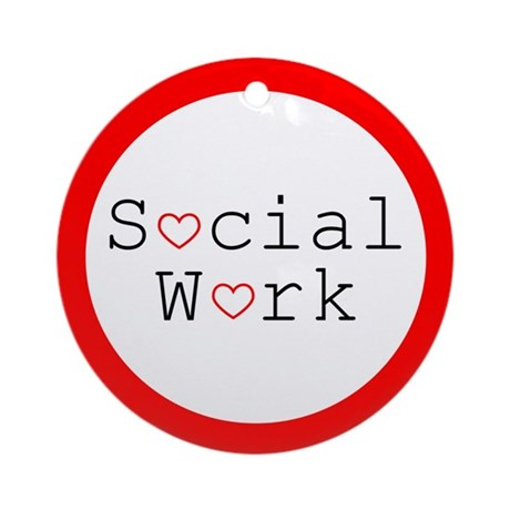 Social Work Hearts Ornament (Round)