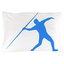 Blue Javelin Throw Silhouette Pillow Case