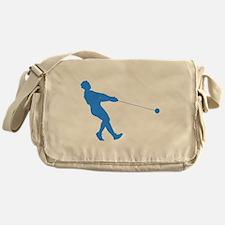 Blue Hammer Throw Silhouette Messenger Bag