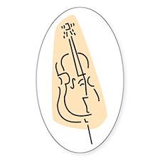 Bass Fiddle Oval Sticker (Peach)