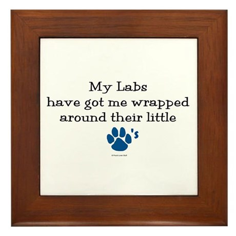 Wrapped Around Their Paws (Lab) Framed Tile