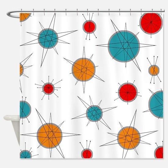 Atomic Era Planets Shower Curtain