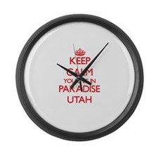 Keep calm you live in Paradise Ut Large Wall Clock