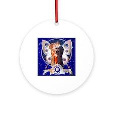Monogram Q Art Deco Starlight Lov Ornament (Round)
