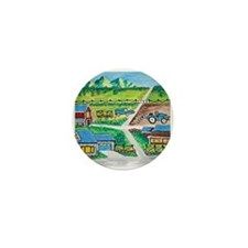 Country farm painting Mini Button