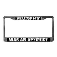 Grunge Optimist License Plate Frame