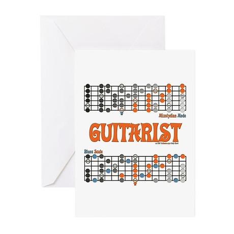 Blues/Mixolydian Cheat Sheet Greeting Cards (Packa