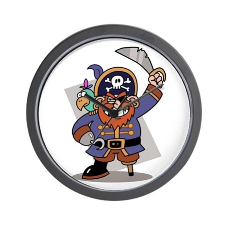 Cartoon Pirate with Parrot Wall Clock