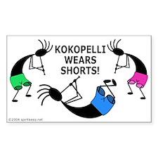 Kokopelli Wears Shorts #1 Sticker (Rect.)
