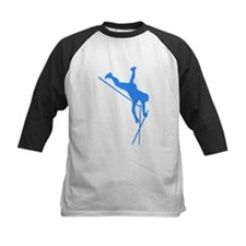 Blue Pole Vaulter Silhouette Baseball Jersey