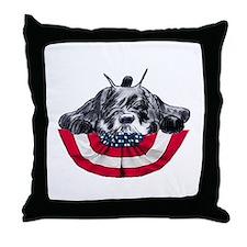 schnauzer on flag Throw Pillow