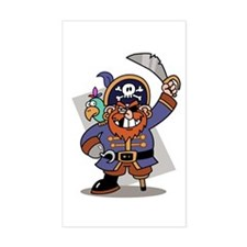 Cartoon Pirate with Parrot Rectangle Decal