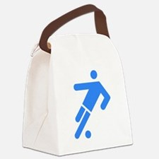Blue Soccer Player Canvas Lunch Bag