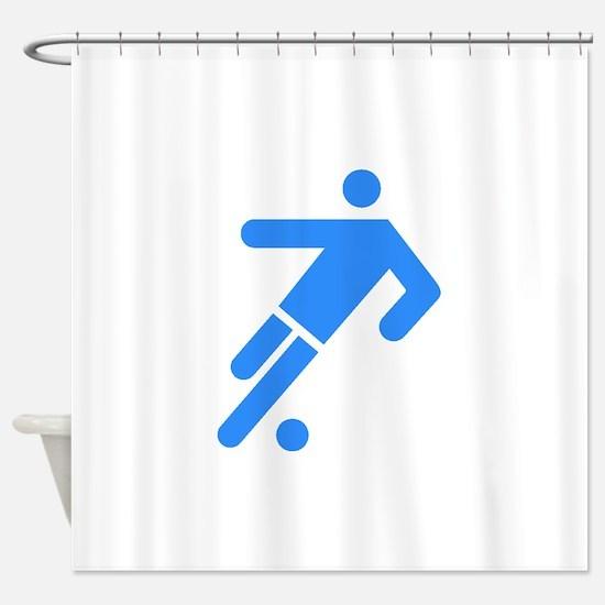 Blue Soccer Player Shower Curtain