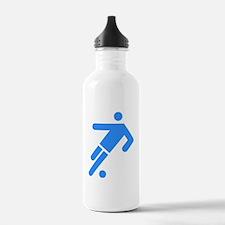 Blue Soccer Player Water Bottle