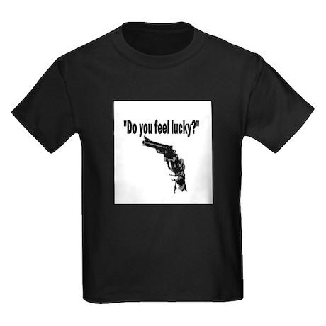 DO YOU FEEL LUCKY (GUN) Kids Dark T-Shirt