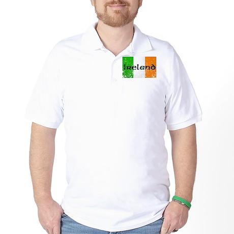 Ireland Flag Distressed Look Golf Shirt
