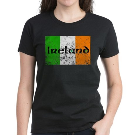 Ireland Flag Distressed Look Women's Dark T-Shirt