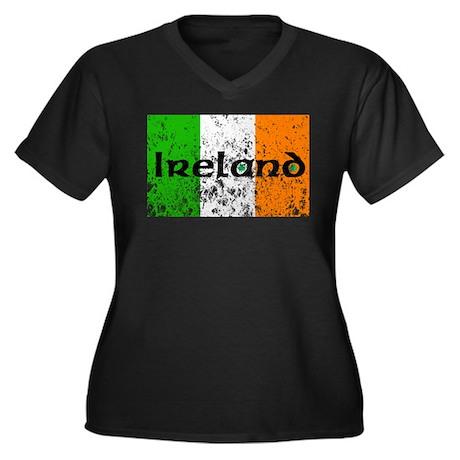 Ireland Flag Distressed Look Women's Plus Size V-N