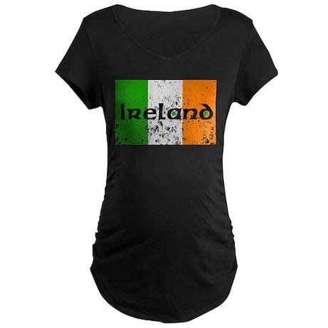 Ireland Flag Distressed Look Maternity Dark T-Shir