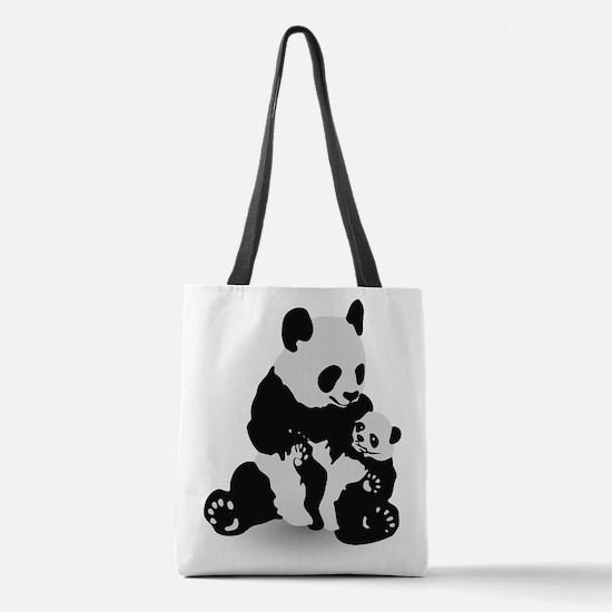 Panda & Baby Panda Polyester Tote Bag