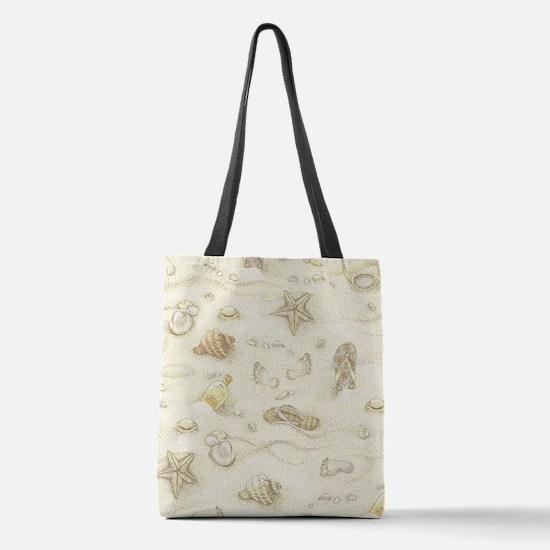 Vintage Summer Beach Pattern Polyester Tote Bag