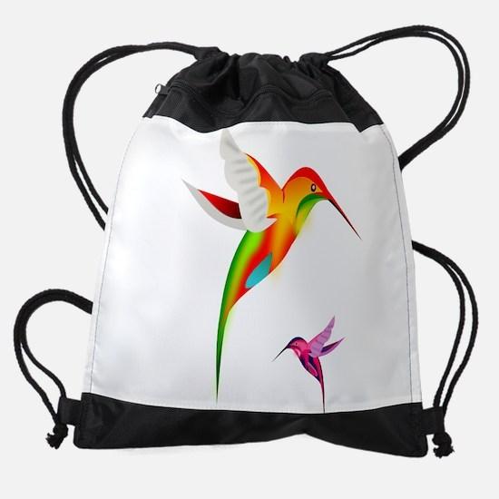 Colorful Hummingbirds Birds Drawstring Bag