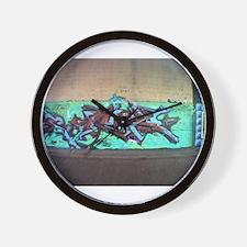 Painting graffiti blue Wall Clock
