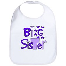 purple big sister funky stars Bib