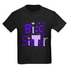 purple big sister funky stars T