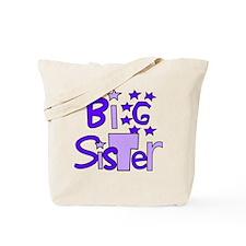 purple big sister funky stars Tote Bag